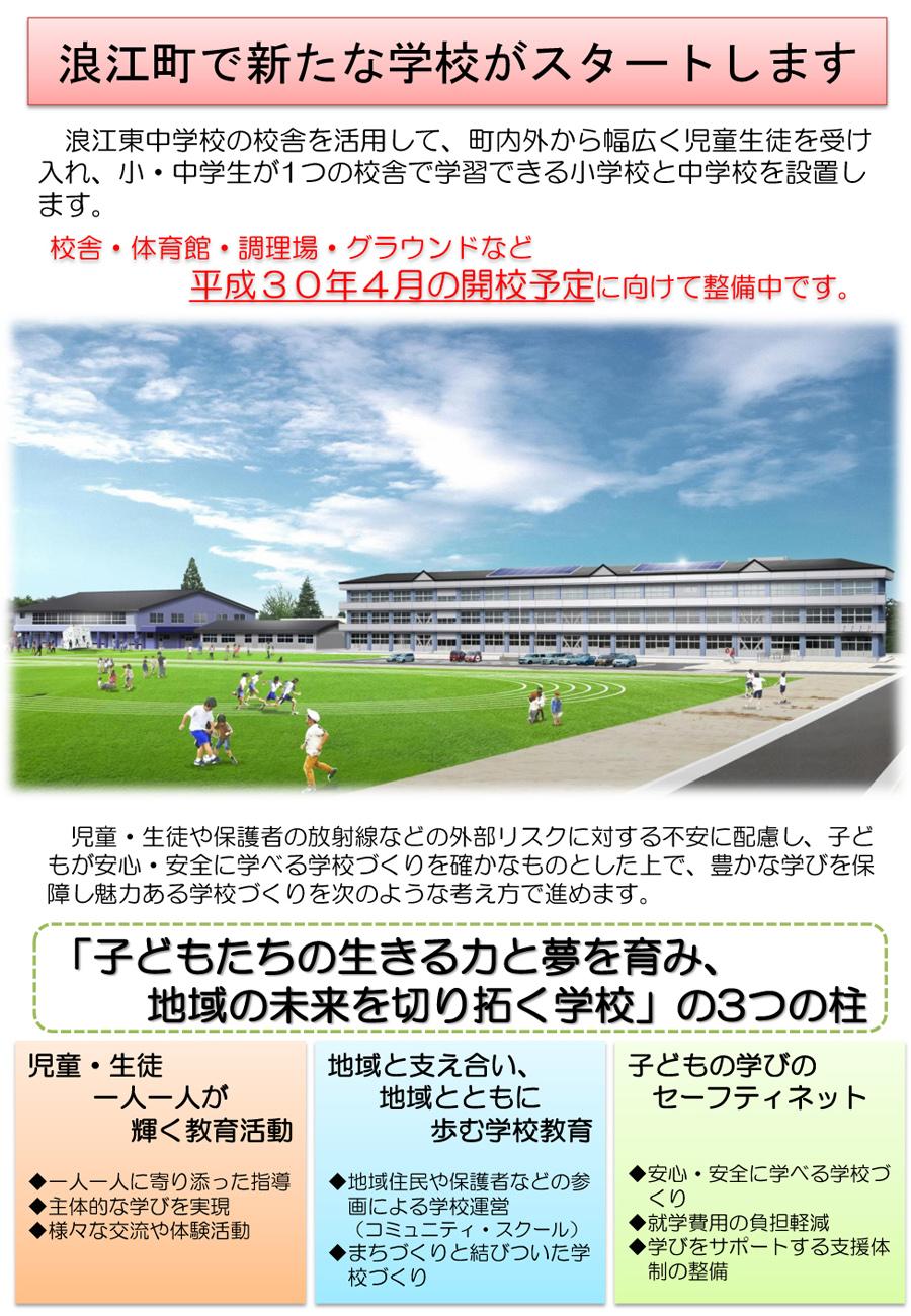 浪江町の新しい小・中学校の【校名】を募集