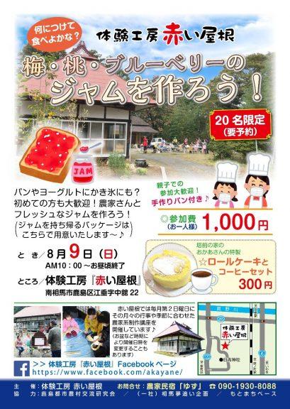 2020.8.9体験工房赤い屋根「梅・桃・ブルーベリーのジャムを作ろう!」