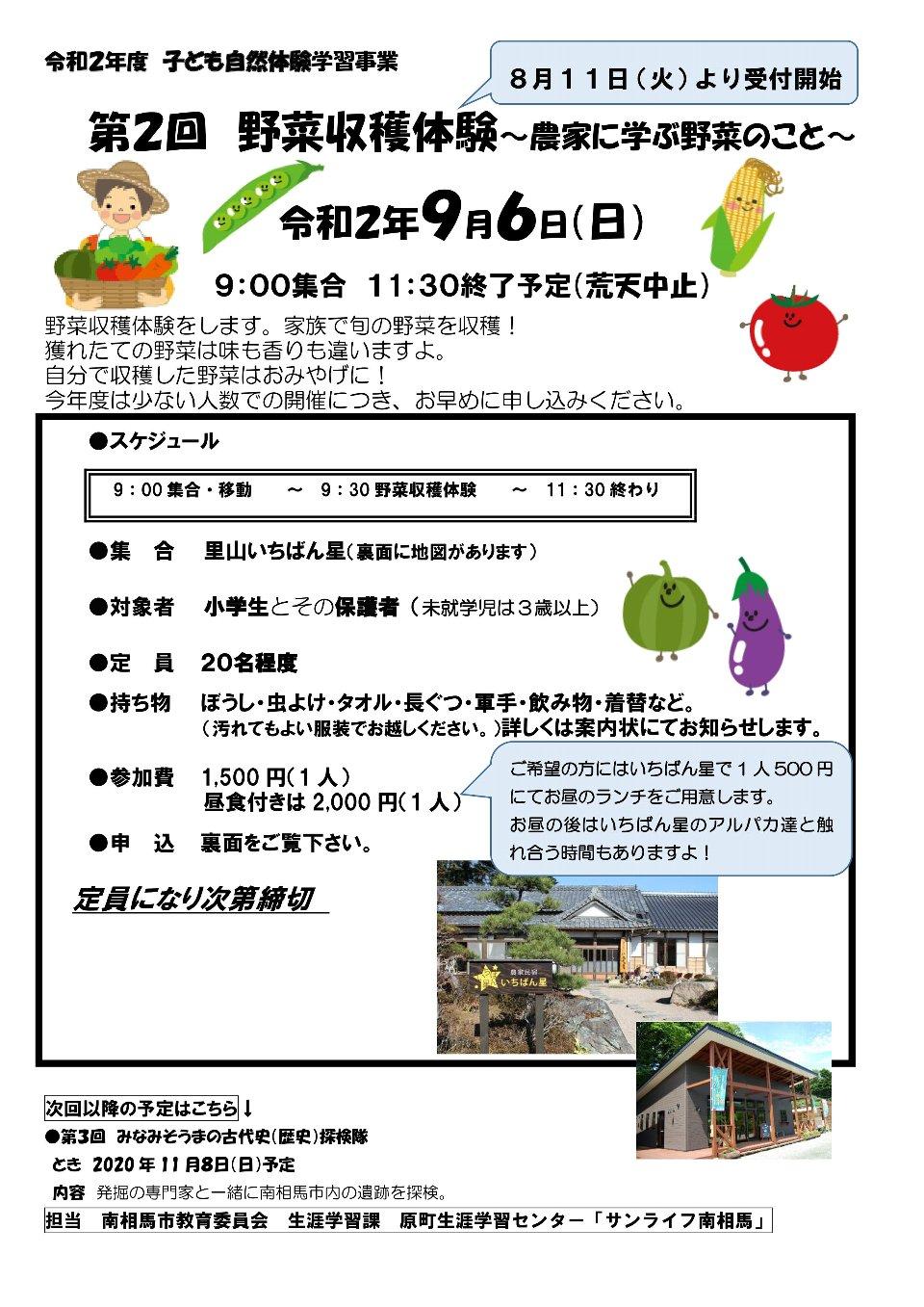 【南相馬市】第2回 野菜収穫体験~農家に学ぶ野菜のこと~ @ 農家民宿 いちばん星